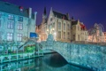 Картинка ночь, мост, огни, дома, фотограф, канал, Бельгия