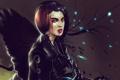 Картинка девушка, кровь, робот, крылья