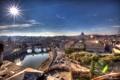 Картинка небо, солнце, лучи, река, дома, Рим, Италия
