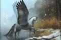 Картинка зима, лес, вода, снег, река, лошадь, крылья
