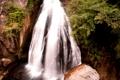 Картинка камни, кустарник, трава, водопад