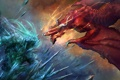 Картинка лед, фантастика, огонь, дракон, монстр, арт
