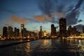 Картинка город, река, Иллиноис, ночь, небоскребы, Чикаго, огни