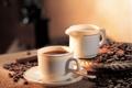 Картинка кофе, зерна, чашки