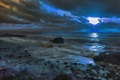 Картинка море, небо, облака, тучи, камни, вечер, прибой