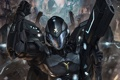 Картинка оружие, рука, арт, солдат, шлем, броня, Galaxy Saga