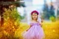 Картинка закат, платье, улыбка, природа, Девочка, венок, конфета