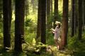 Картинка лес, девушка, венок