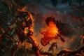 Картинка ночь, дракон, джунгли, гарпия, варвары
