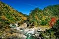 Картинка камни, глыбы, река, холмы, зелень, пороги, след
