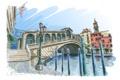 Картинка мост, арт, лестница, фонарь, Венеция, канал