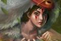 Картинка девушка, маска, нож, принцесса мононоке, princess mononoke, mononoke hime