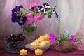 Картинка цветы, ягоды, кокос, ваза, фрукты, натюрморт, абрикос
