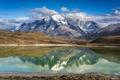 Картинка снег, горы, природа, озеро, отражение