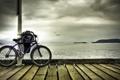 Картинка море, велосипед, причал, bike, привал