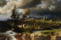 Картинка небо, деревья, пейзаж, мост, река, камни, картина