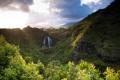Картинка зелень, лес, горы, тучи, скалы, водопад, Гавайи