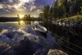 Картинка лодка, озеро, утро