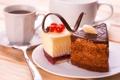 Картинка пирожное, шоколад, кофе, красная смородина