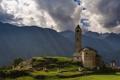 Картинка облака, солнце, церковь, горы, Chiesa Santi Lorenzo e Agata, Швейцария, Rossura