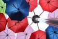 Картинка зонты, зонт, столб, колонна, ракурс, цветные, цвет