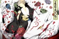 Картинка цветы, аниме, лепестки, демон, арт, лица, рога