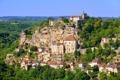 Картинка деревья, скалы, Франция, дома, панорама, Dordogne
