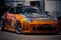 Картинка оранжевый, Nissan, 350Z, orange, наклейки, карбоновый капот, деколи