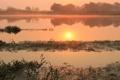 Картинка закат, природа, туман, озеро