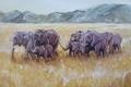 Картинка трава, горы, арт, саванна, слоны, сухая, elephants