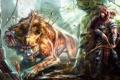 Картинка фантастика, существо, лук, арт, охота, стрелы, охотник