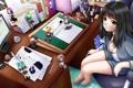 Картинка компьютер, девушка, стол, комната, кресло, арт, рисунки