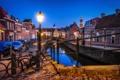 Картинка ночь, мост, огни, дома, фонарь, канал