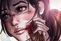Картинка взгляд, лицо, волосы, игра, рисунок, рука, арт