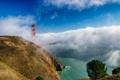 Картинка небо, облака, мост, туман, дерево, залив, Сан-Франциско