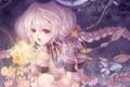 Картинка цветок, девушка, бабочки, магия, волосы, косы, пышные