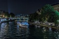 Картинка ночь, огни, река, Франция, Париж, корабль, дома