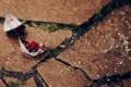 Картинка капли, кораблики, камень, вода, оригами, дождь, бумажные