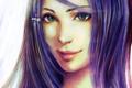 Картинка взгляд, девушка, лицо, волосы, фиолетовые