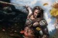 Картинка лес, листья, меч, воин, мужчина, татуировки, the elder scrolls