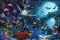 Картинка рыбы, черепаха, арт, дельфины, морское дно, David Miller