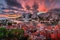 Картинка закат, горы, здания, панорама, Хорватия, Croatia, Адриатическое море