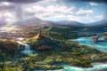 Картинка тучи, природа, река, скалы, водопад, арт