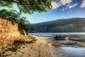Картинка песок, вода, деревья, пейзаж, природа, река, берег