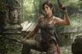 Картинка лес, девушка, поза, оружие, кровь, Tomb Raider, хижина
