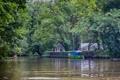 Картинка река, лодка, Деревья