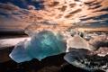 Картинка закат, лёд, Исландия, Iceland