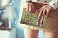 Картинка девушка, фон, обои, настроения, юбка, книга, ногти