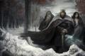Картинка зима, взгляд, снег, оружие, фантастика, меч, корона