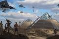 Картинка самолеты, пришельцы, египет, арт, сооружение, стройка, пирамиды
